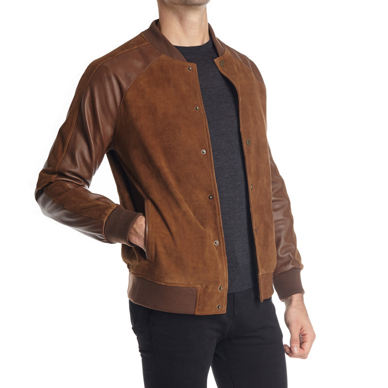 Cremona Men's Suede and Leather Varsity Jacket - Mid Brown