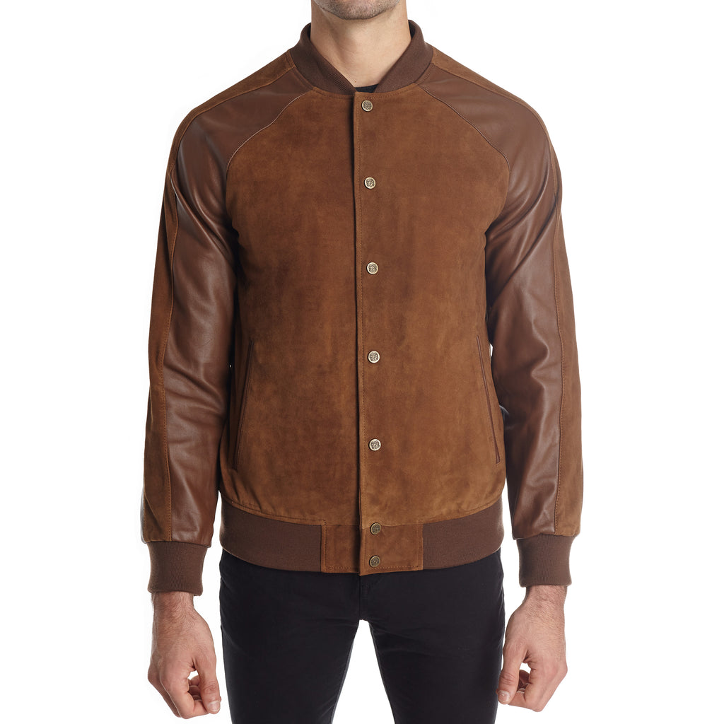 Cremona Men S Suede And Leather Varsity Jacket Mid Brown Bruno Magli