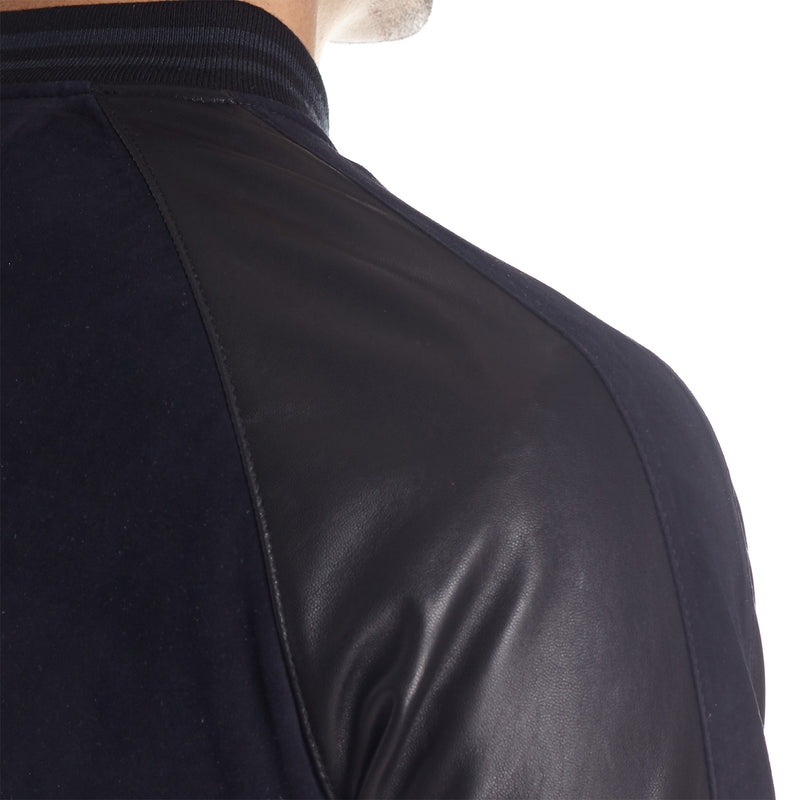 Cremona Men's Suede and Leather Varsity Jacket - Navy