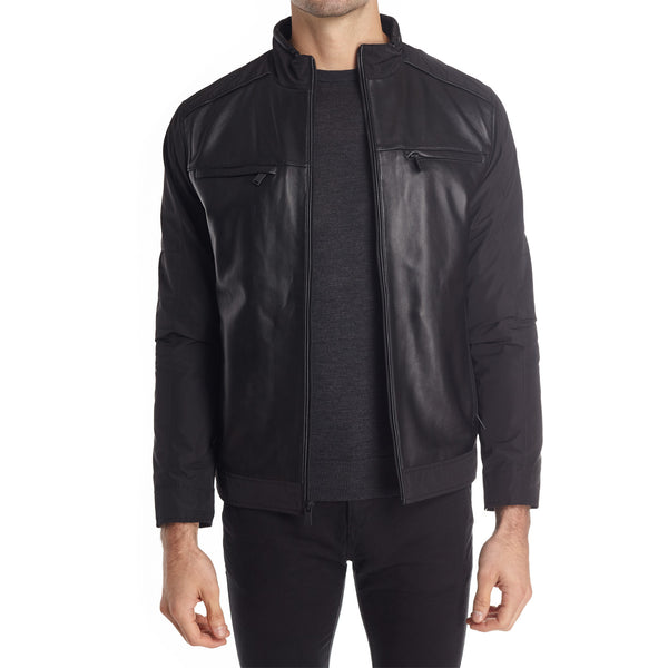b72df510d ... Taormina Men's Mixed Media Moto Jacket - Black - FINAL SALE
