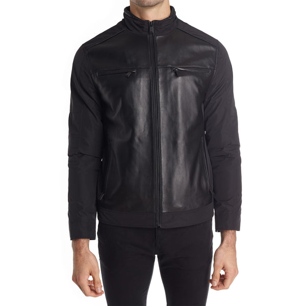 Taormina Men's Mixed Media Moto Jacket - Black - FINAL SALE
