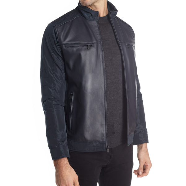 Taormina Men's Mixed Media Moto Jacket - Navy