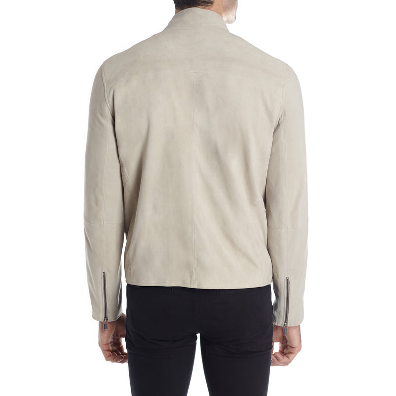 Siene Men's Suede Moto Jacket - White