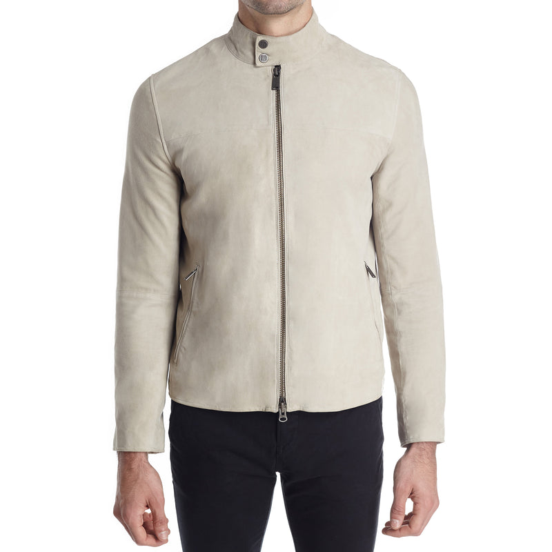 Siene Men's Suede Moto Jacket - White - FINAL SALE