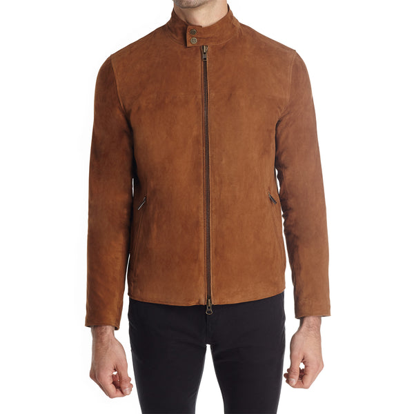 Siene Men's Suede Moto Jacket - Light Brown