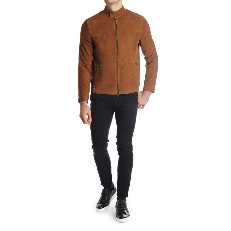 Siene Men S Suede Moto Jacket Light Brown Bruno Magli