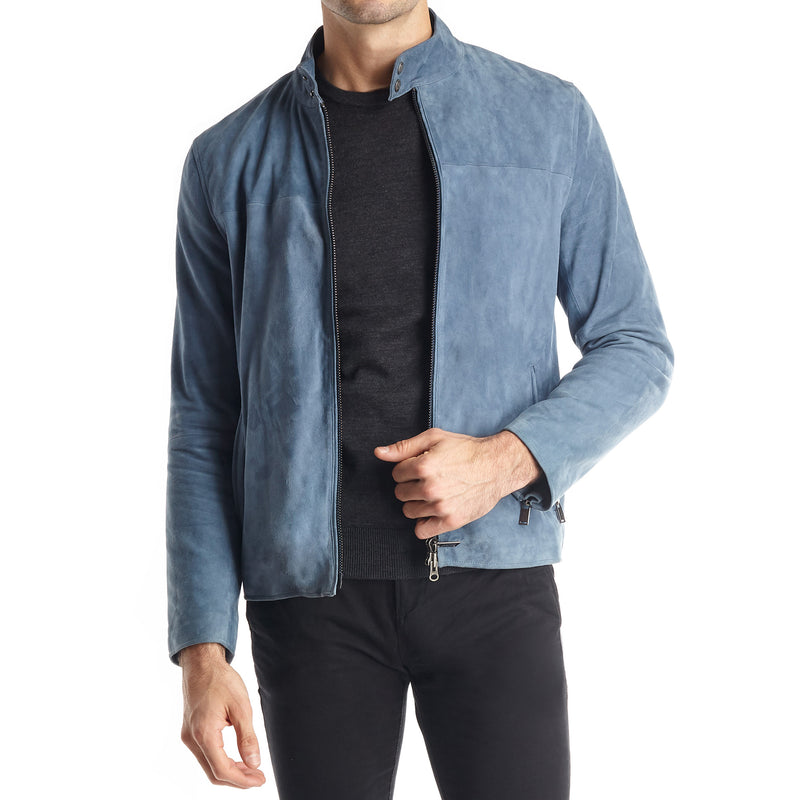 Siene Men's Suede Moto Jacket - Light Blue