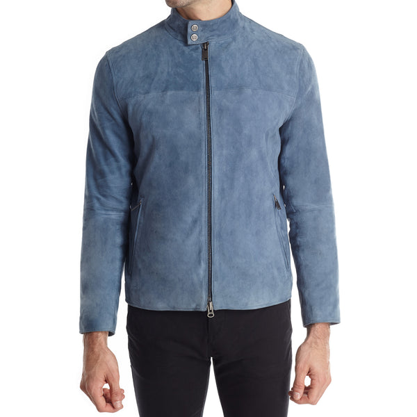 Siene Men's Suede Moto Jacket - Light Blue - FINAL SALE