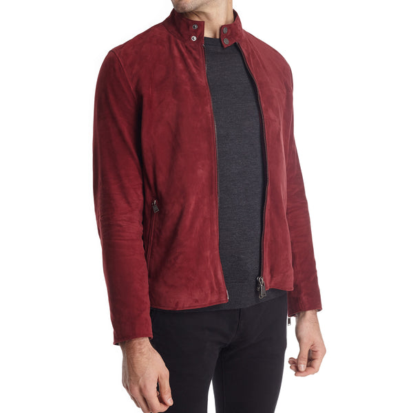 Siene Men's Suede Moto Jacket - Burgundy