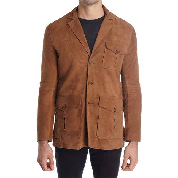 Messina Men's Suede Safari Blazer Jacket - Light Brown