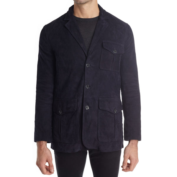 Messina Men's Suede Safari Blazer Jacket - Navy