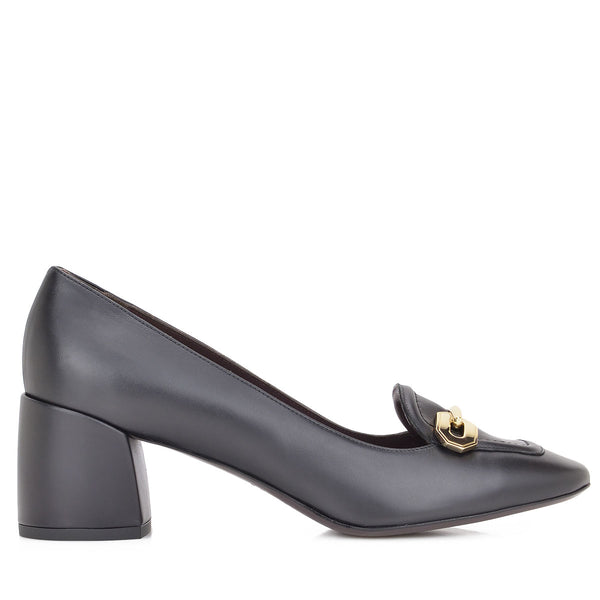 Natalia Leather Chunky-Heel, 2-Inch - Black Leather - FINAL SALE