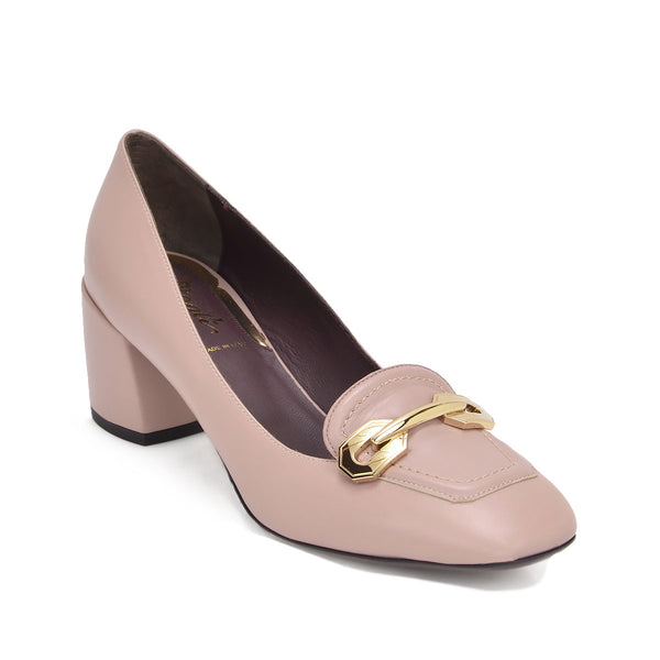Natalia Leather Chunky-Heel, 2-Inch - Nude Leather