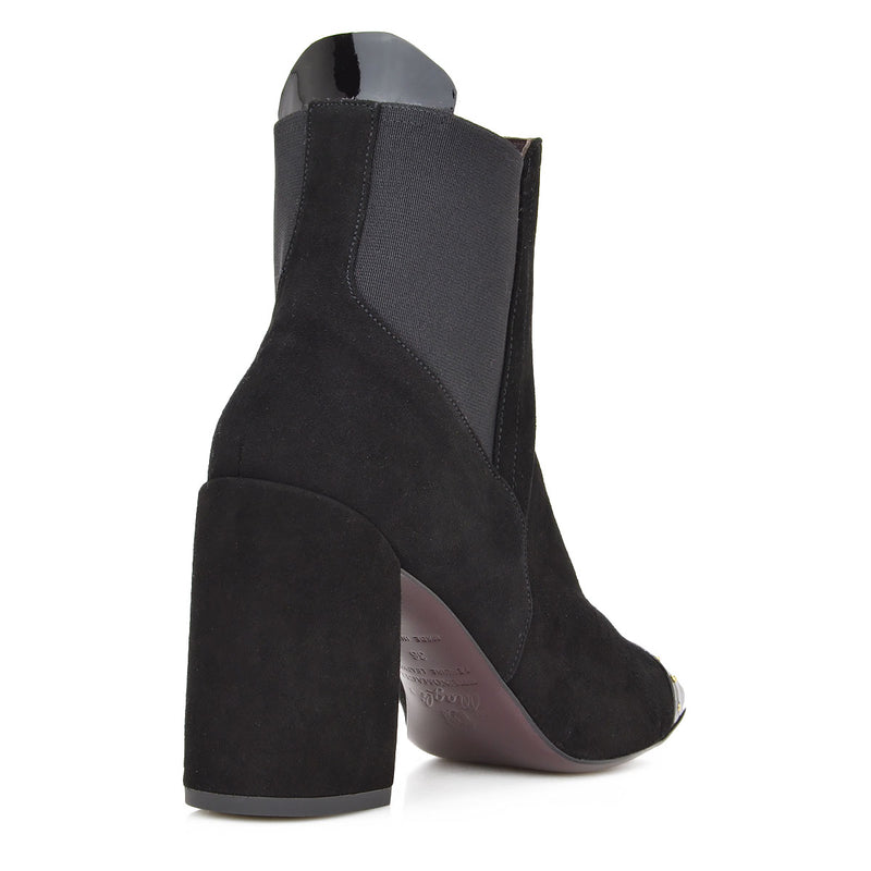 Nina Bootie, 3-Inch - Black Suede/Black Patent Leather