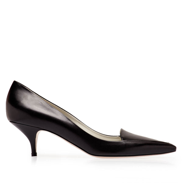 Ninfa Pointed Loafer Pump, 2-Inch - Black Leather/Black Patent Leather