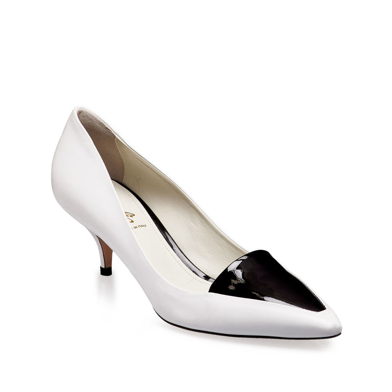 Ninfa Pointed Loafer Pump, 2-Inch - White Leather/Black Patent Leather