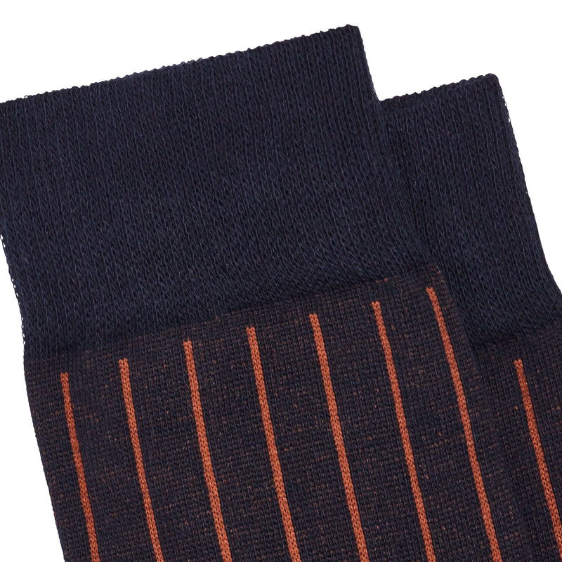 Men's No. 45 Pinstripe Dress Socks - Blue/Light Brown