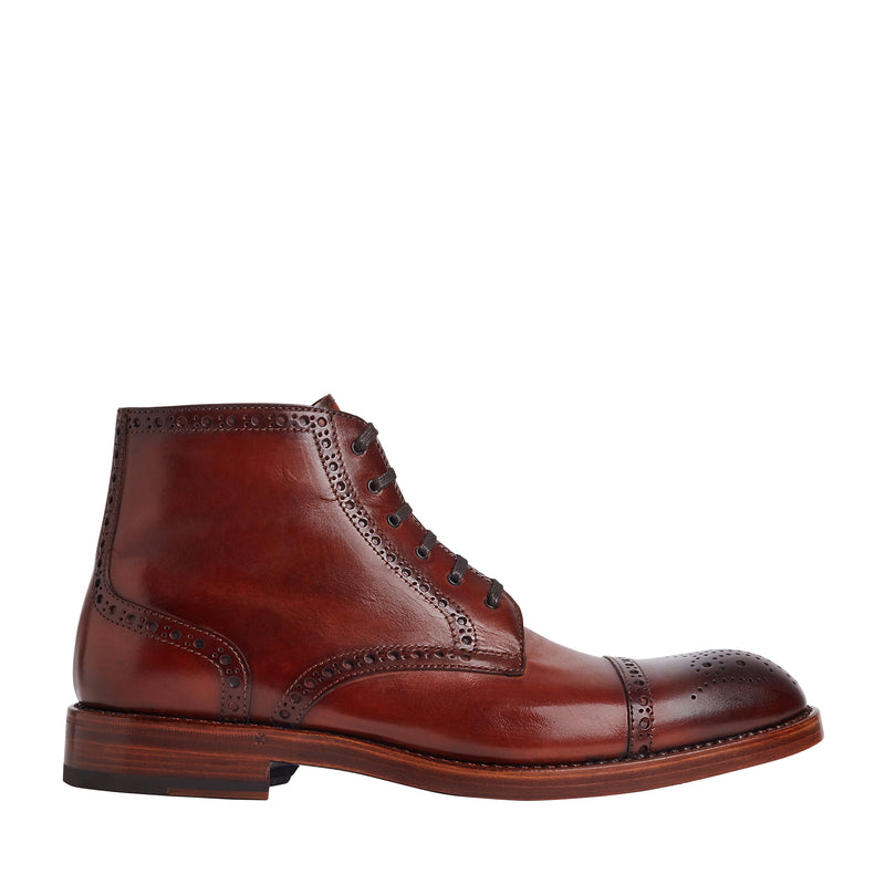 Octavio Brogue Lace-Up Boot - Cognac