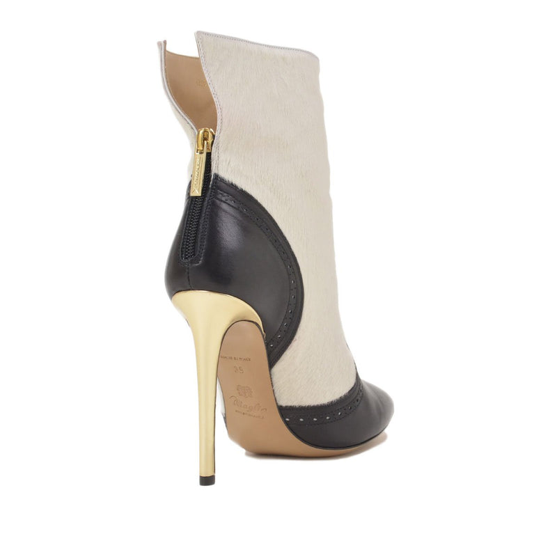 Onilia Pointed-Toe Ankle Boot, 4-inch  - FINAL SALE - Black Leather/White Calf Hair