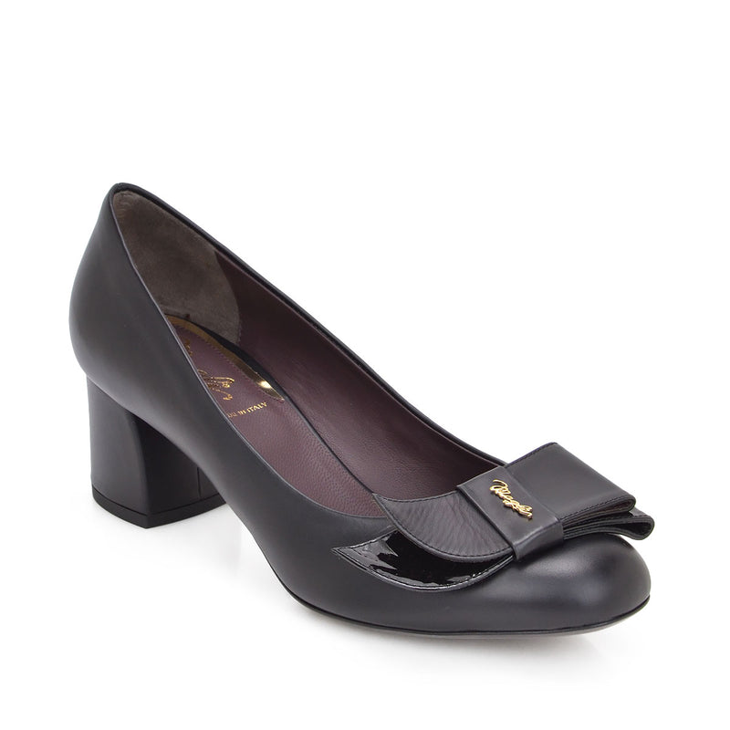 Orsola Chunky Heel Pump, 2-Inch - Black Leather/Patent Leather - FINAL SALE