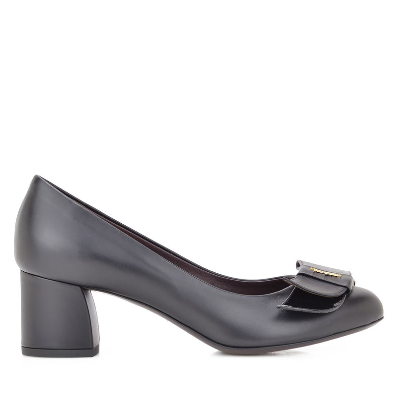 Orsola Chunky Heel Pump, 2-Inch - Black Leather/Patent Leather