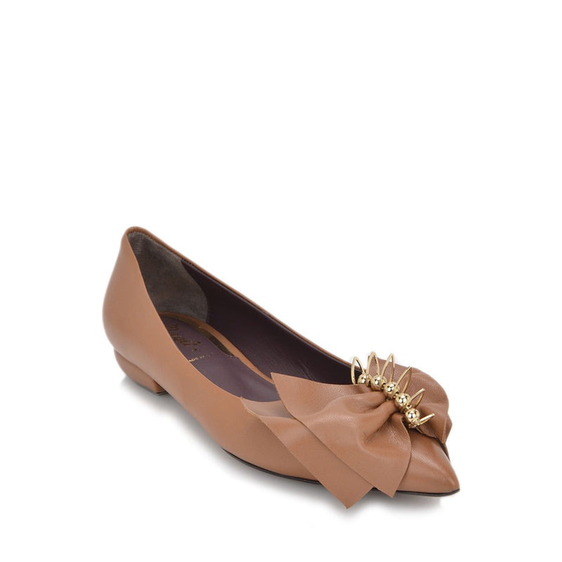 Patty Leather Flat, 1-Inch - FINAL SALE - Brandy Leather