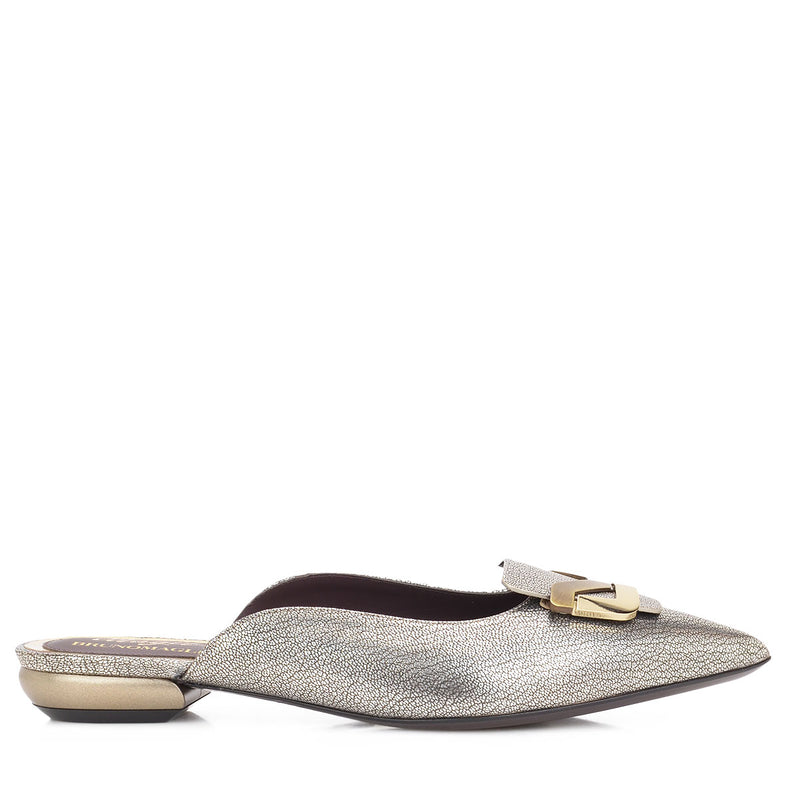 Piera Leather Flat, 1-Inch - FINAL SALE - Smoky Winter Champagne Leather