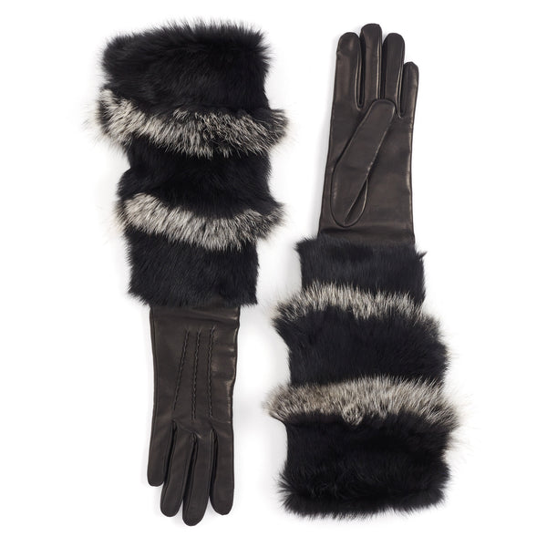 74393652b Polsone Women's Fur Cuff Leather Gloves - Black - FINAL SALE