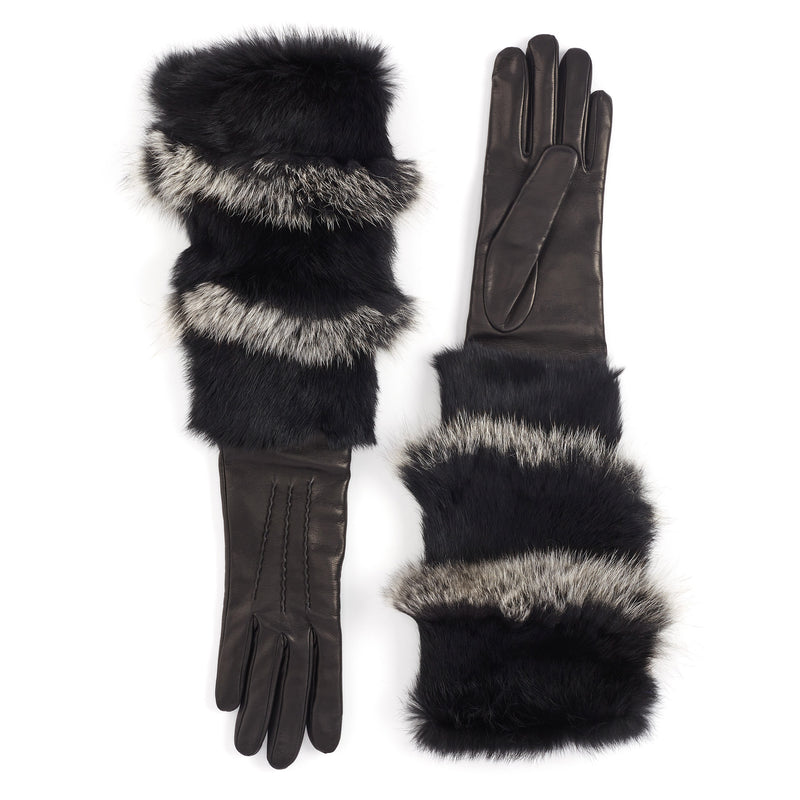 Polsone Women's Fur Cuff Leather Gloves - Black - FINAL SALE