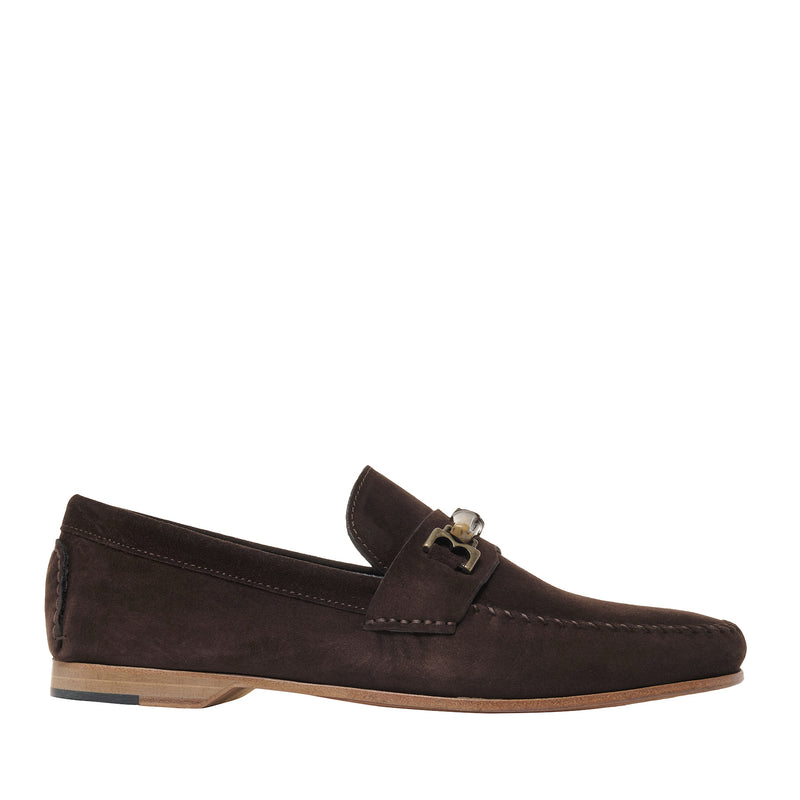 Riviera Suede Bit Loafer - Dark Brown