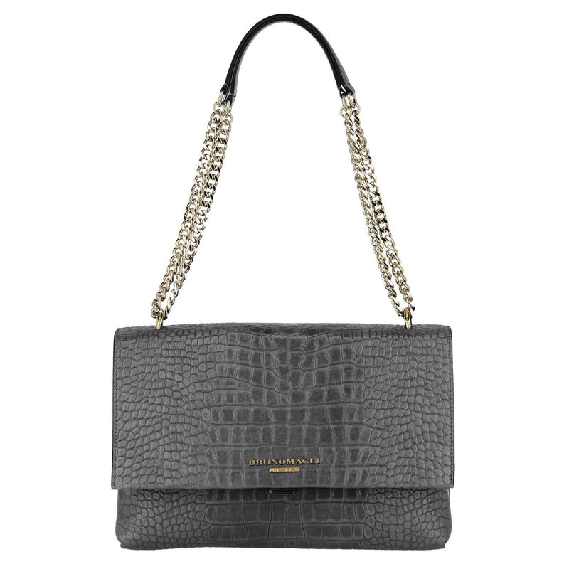Croc-Embossed Chain Shoulder Bag - Greige