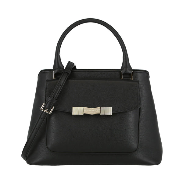Chiseled M Center-Zip Satchel Handbag - Black
