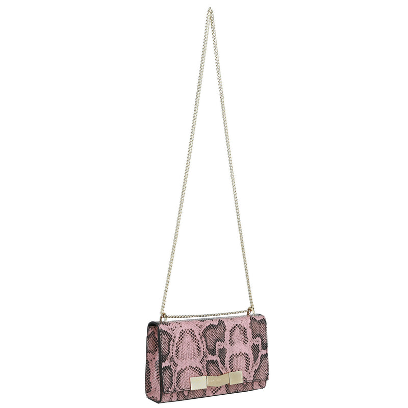 Chiseled M Snake-Embossed Shoulder Bag - Dusty Rose
