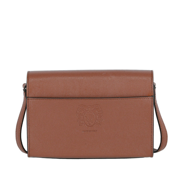 Block M Textured Leather Crossbody Bag - Sienna