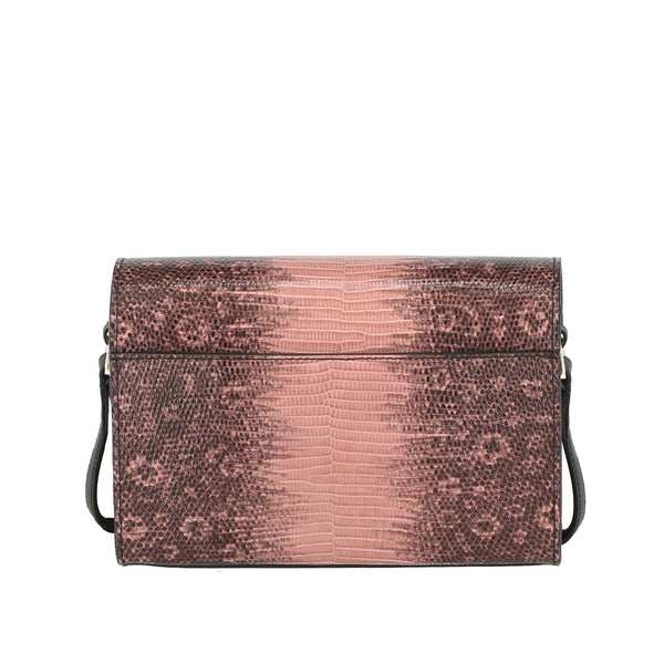 Block M Lizard-Embossed Crossbody Bag - Dusty Rose