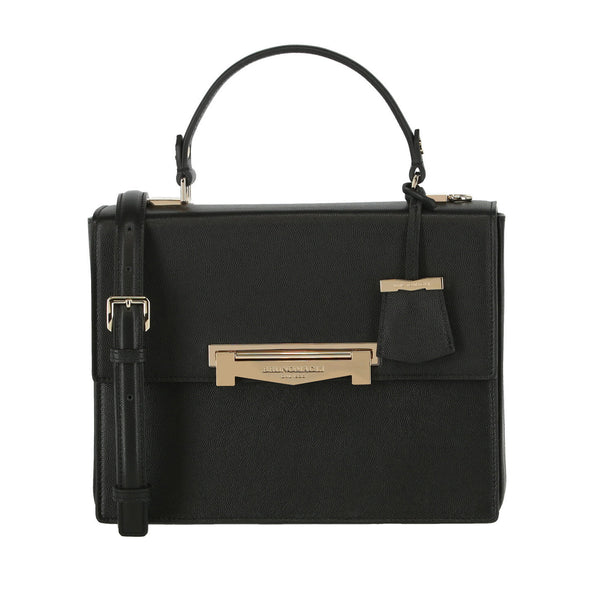 Block M Top-Handle Smooth Leather Crossbody Bag - Black