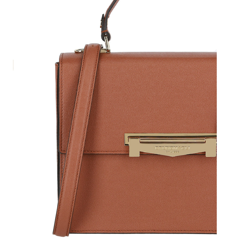 Block M Top-Handle Smooth Leather Crossbody Bag - Sienna