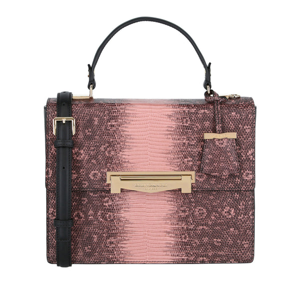 Block M Top-Handle Lizard-Embossed Crossbody Bag - Dusty Rose