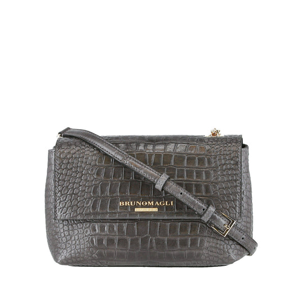 Croc-Embossed Chain Crossbody Bag - Greige