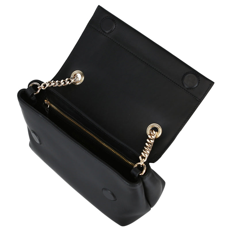 Smooth Leather Chain Crossbody Bag - Black