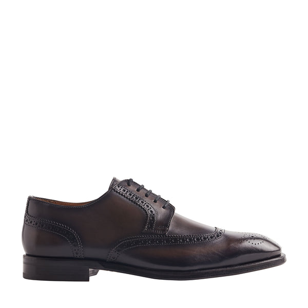Sabitini Leather Brogue Derby Shoe - Dark Grey