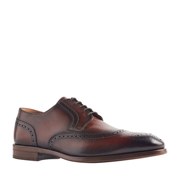 Sabitini Leather Brogue Derby Shoe - Whiskey
