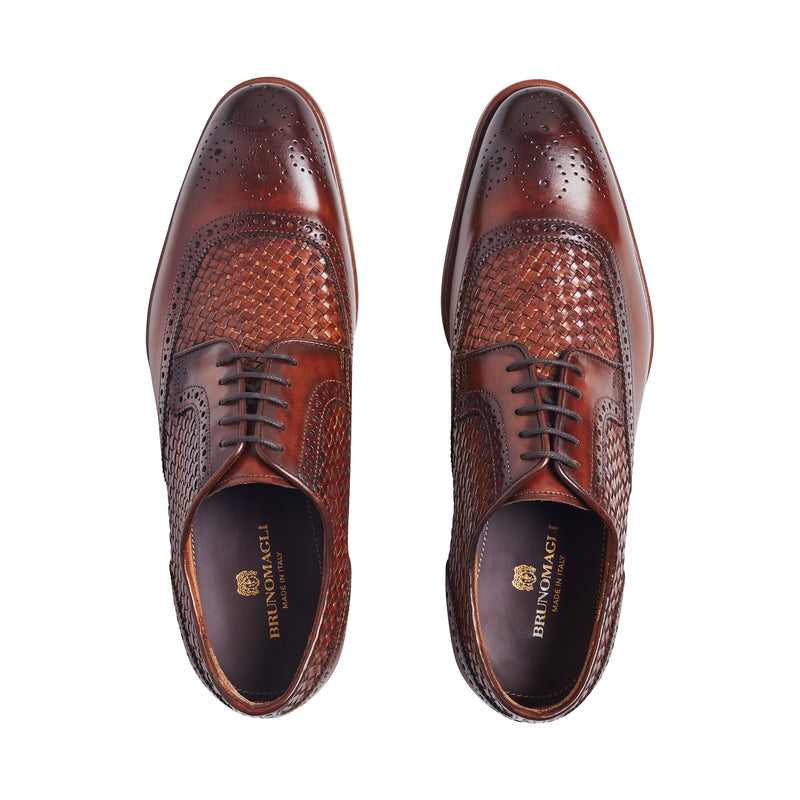 Sabitini Woven Leather Brogue Derby - Whiskey