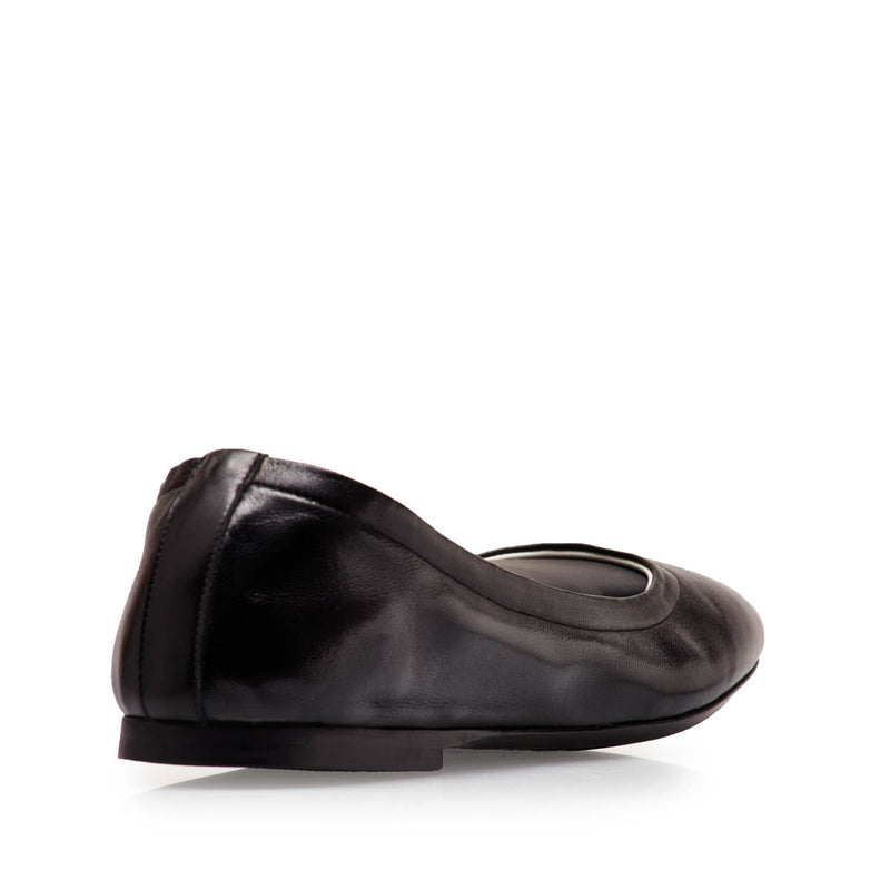Salva Leather Elastic Ballet Flat - Black Leather  - FINAL SALE