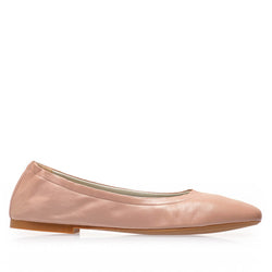 Salva Leather Elastic Ballet Flat - Nude Leather - FINAL SALE