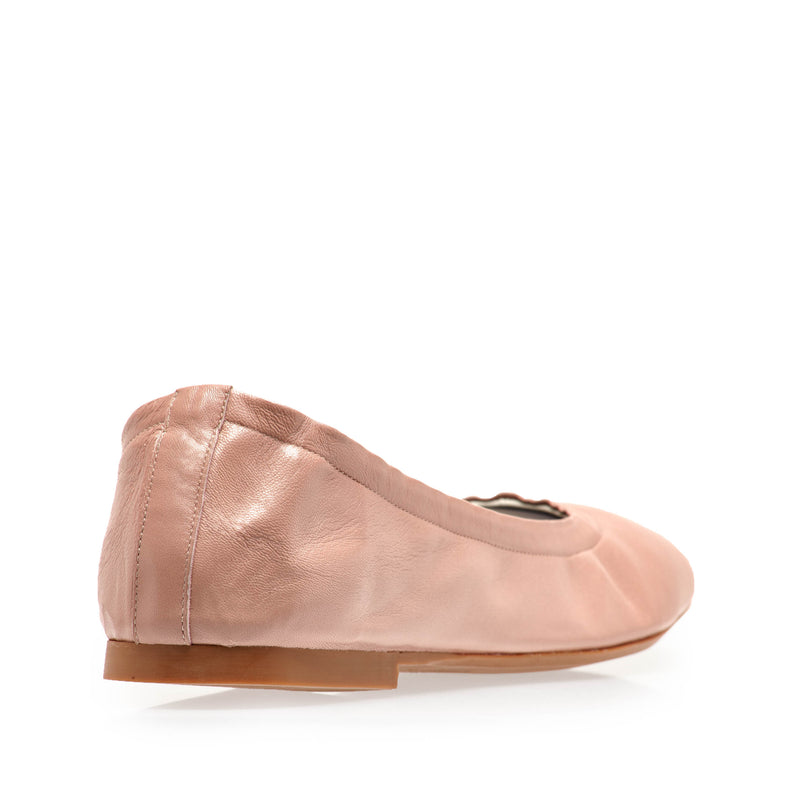 Salva Leather Elastic Ballet Flat - Nude Leather