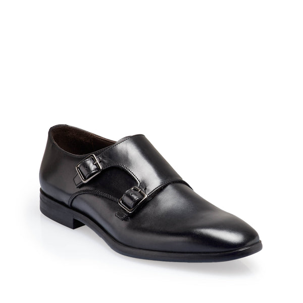 Siracusa Men's Monk-Strap - Black Leather