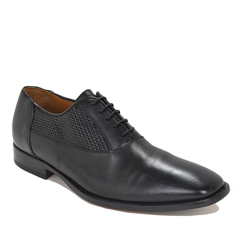 Tomaso Dress Oxford - Black Woven Leather