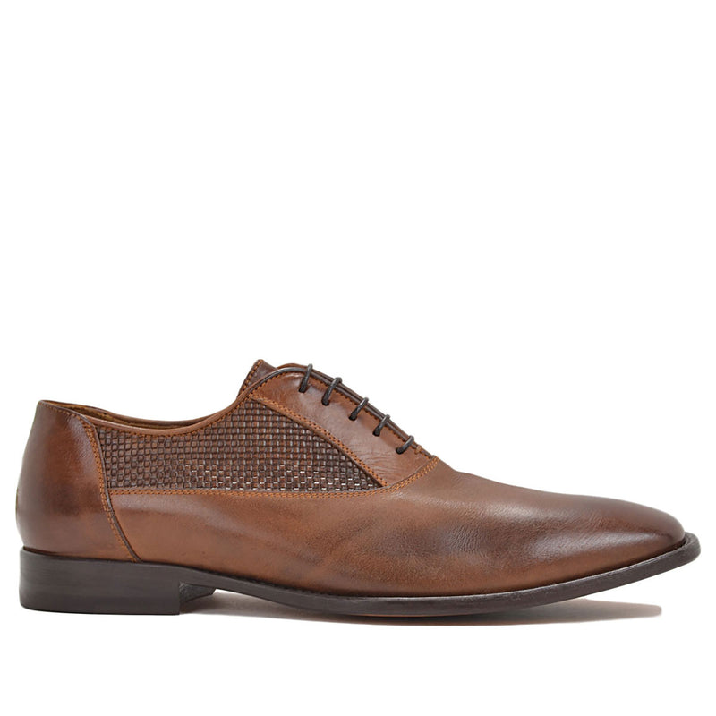 Tomaso Dress Oxford - Cognac Woven Leather