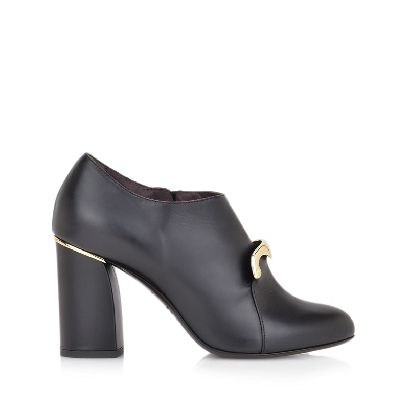 Viola Chunky Heel Pump, 3-Inch - FINAL SALE - Black Leather